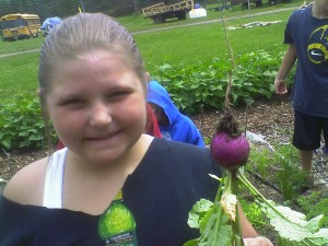 Campers have fun harvesting all of the fresh radishes